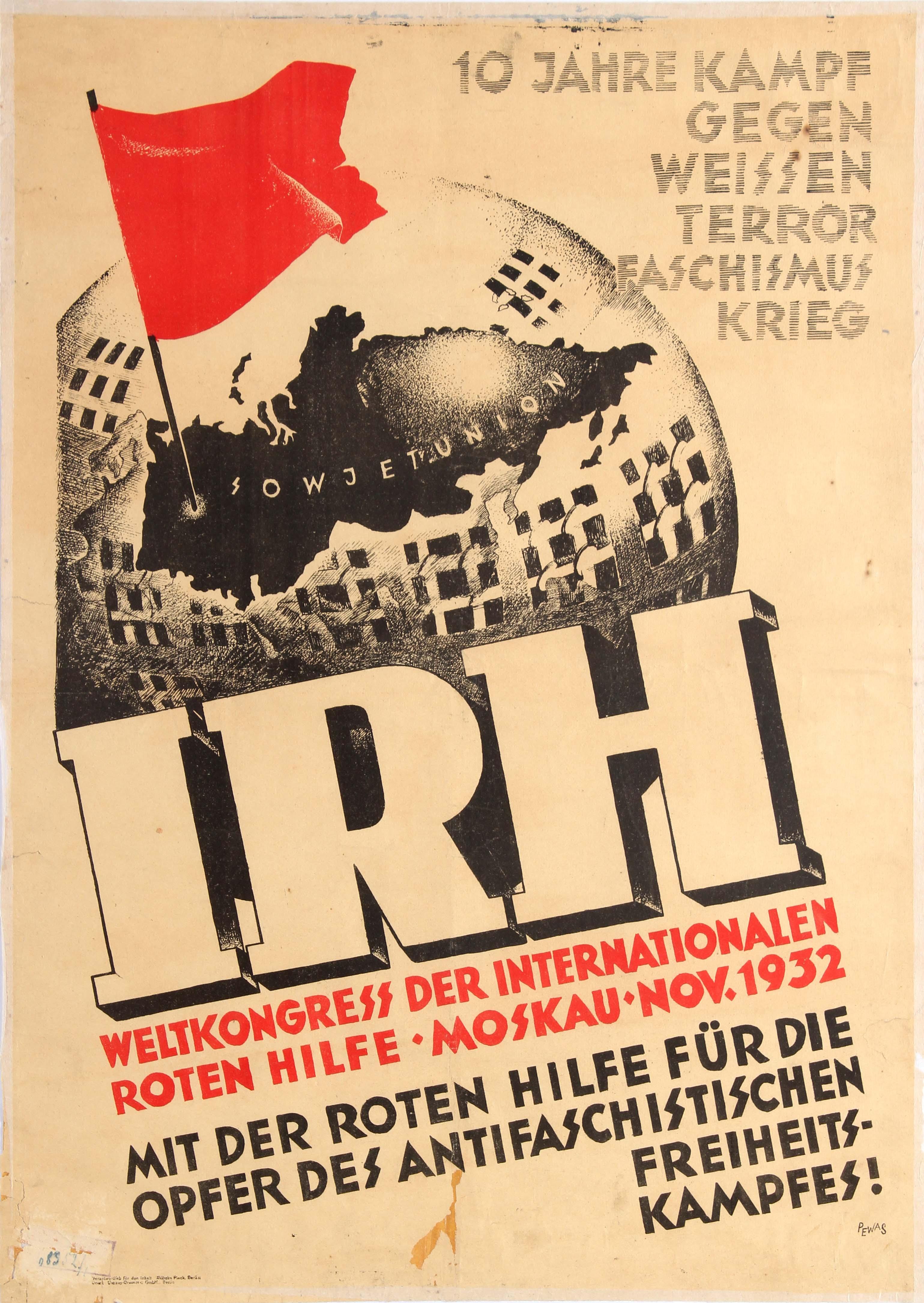 Lot 4301 - Original Propaganda Poster Commuism IRH World Congress Red Aid 1932
