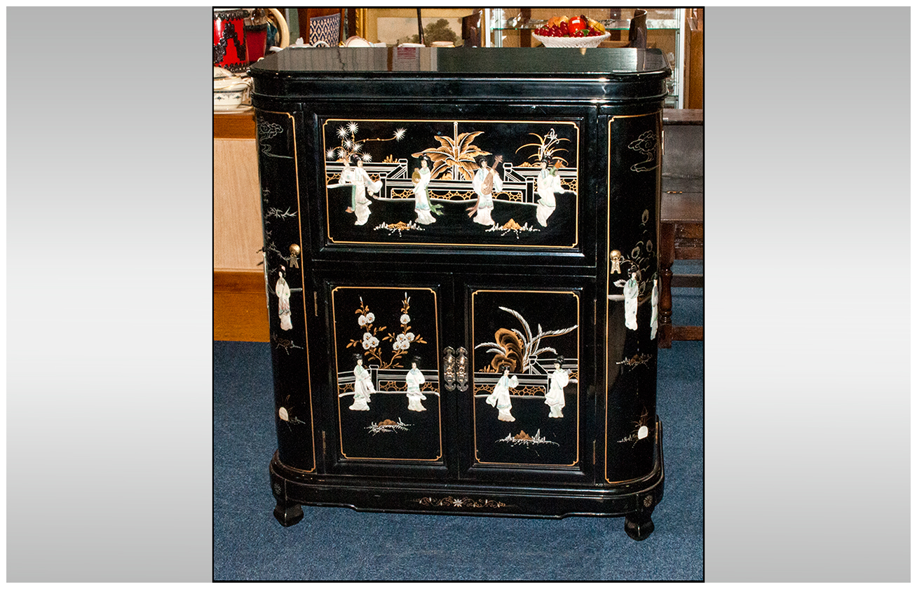 Black Lacquered Chinese Cocktail Cabinet onlaid with carved ...