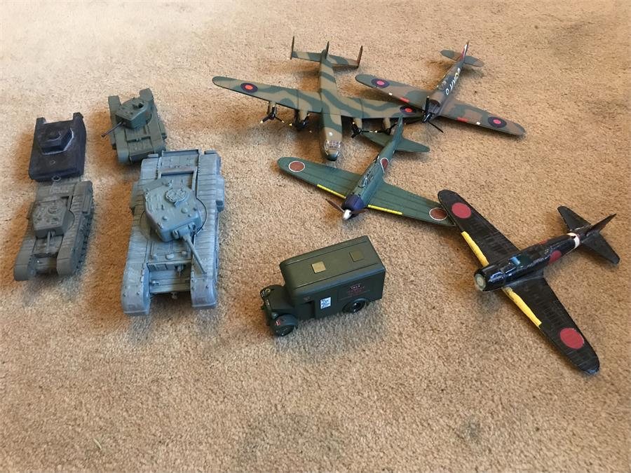 Lot 41 - Various Toy Aeroplanes and Tanks including Corgi - hurricane and Corgi - Avro York and Corgi Churchi