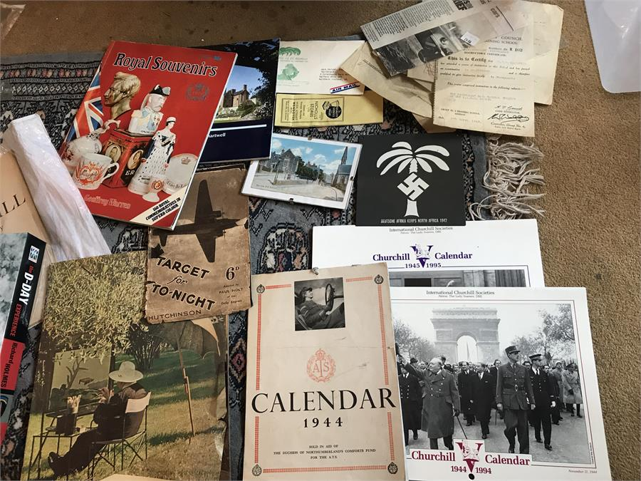 Lot 29 - Churchill/wartime memorabilia inc Calenders etc...