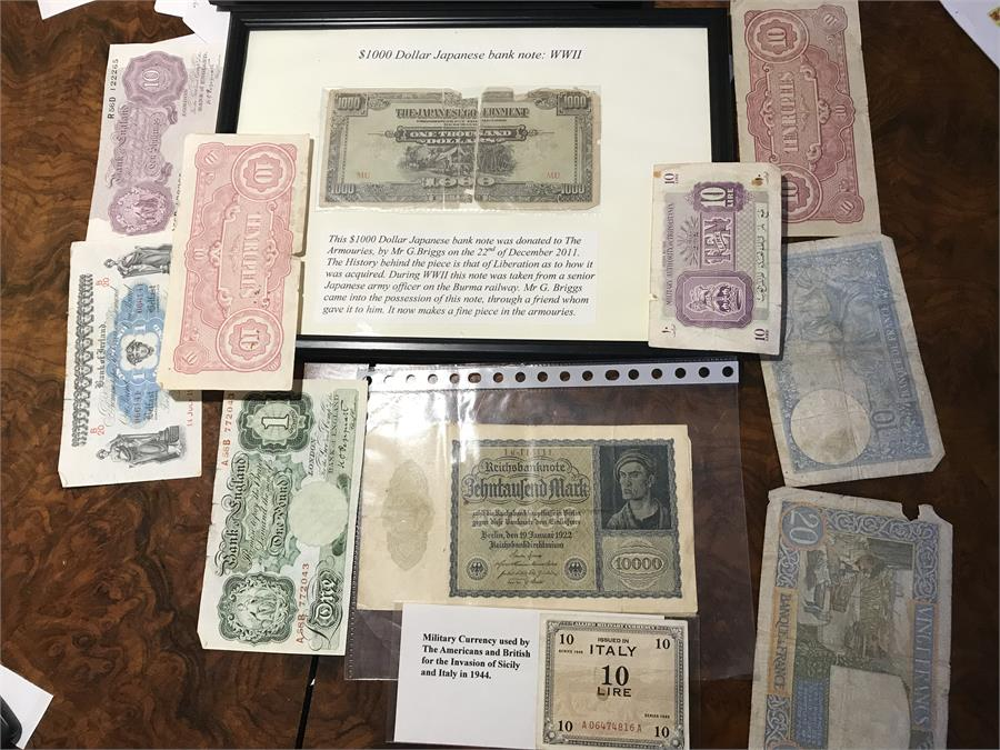 Lot 74 - A Collection of Banknotes to Include $1000 Japanese Bank note and Military Currency.