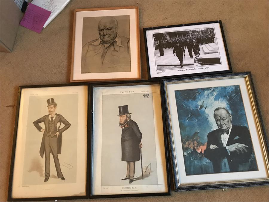 Lot 38 - 5 x Prints inc Vanity fair and Churchill