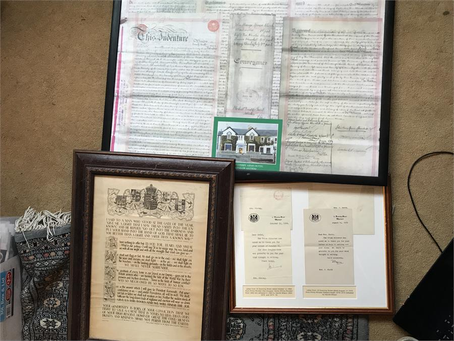 Lot 71 - There Framed Pictures and Letters - Ex BP