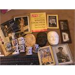 Various Churchill memorabilia, to include mugs, straw work picture, masks etc...