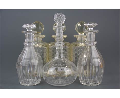 Six Victorian cut glass decanters, tallest H. 27cm. (Rim to one hobnail decanter damaged).