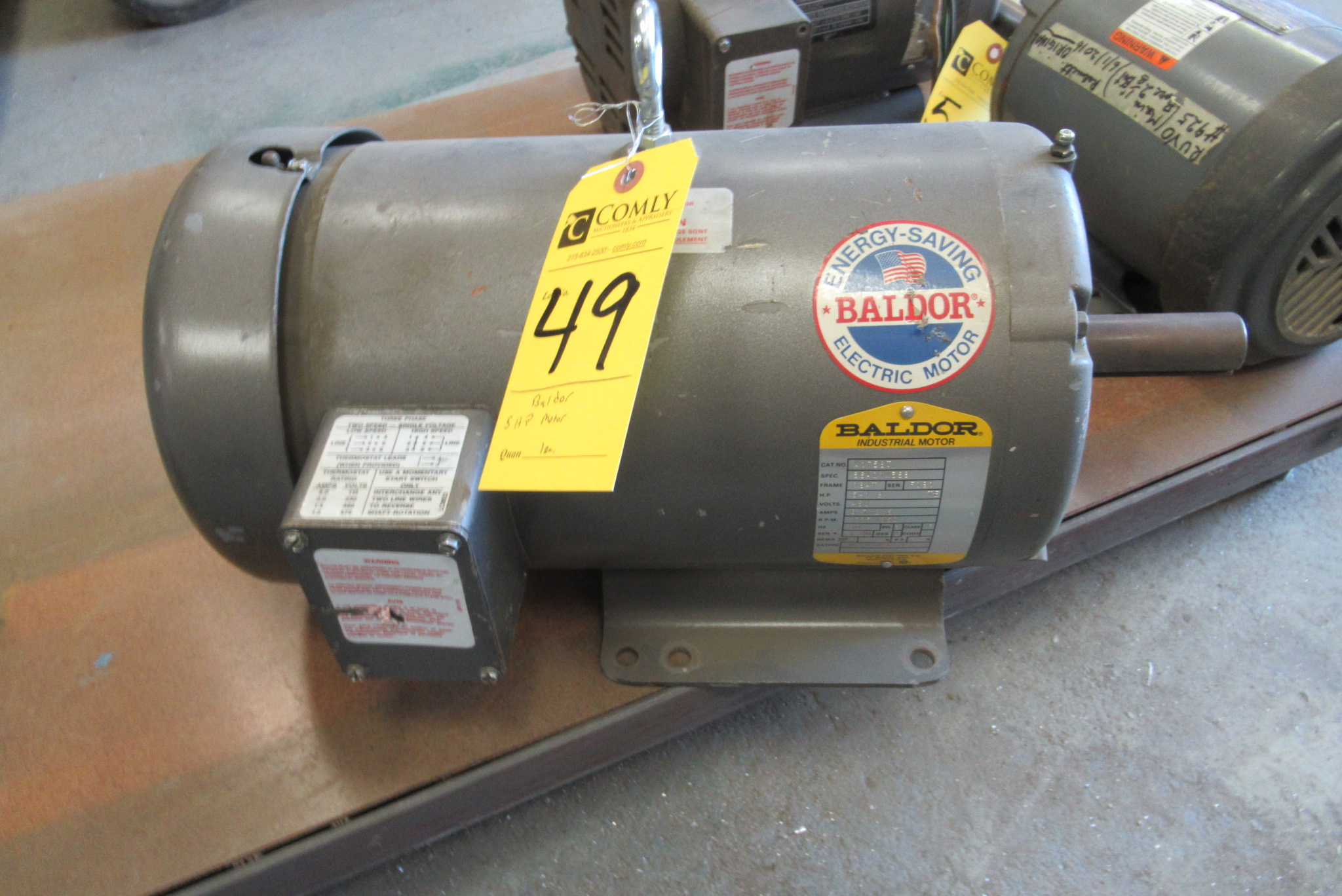Lot 49 - Baldor 5 Hp 3-Phase Motor, 460V
