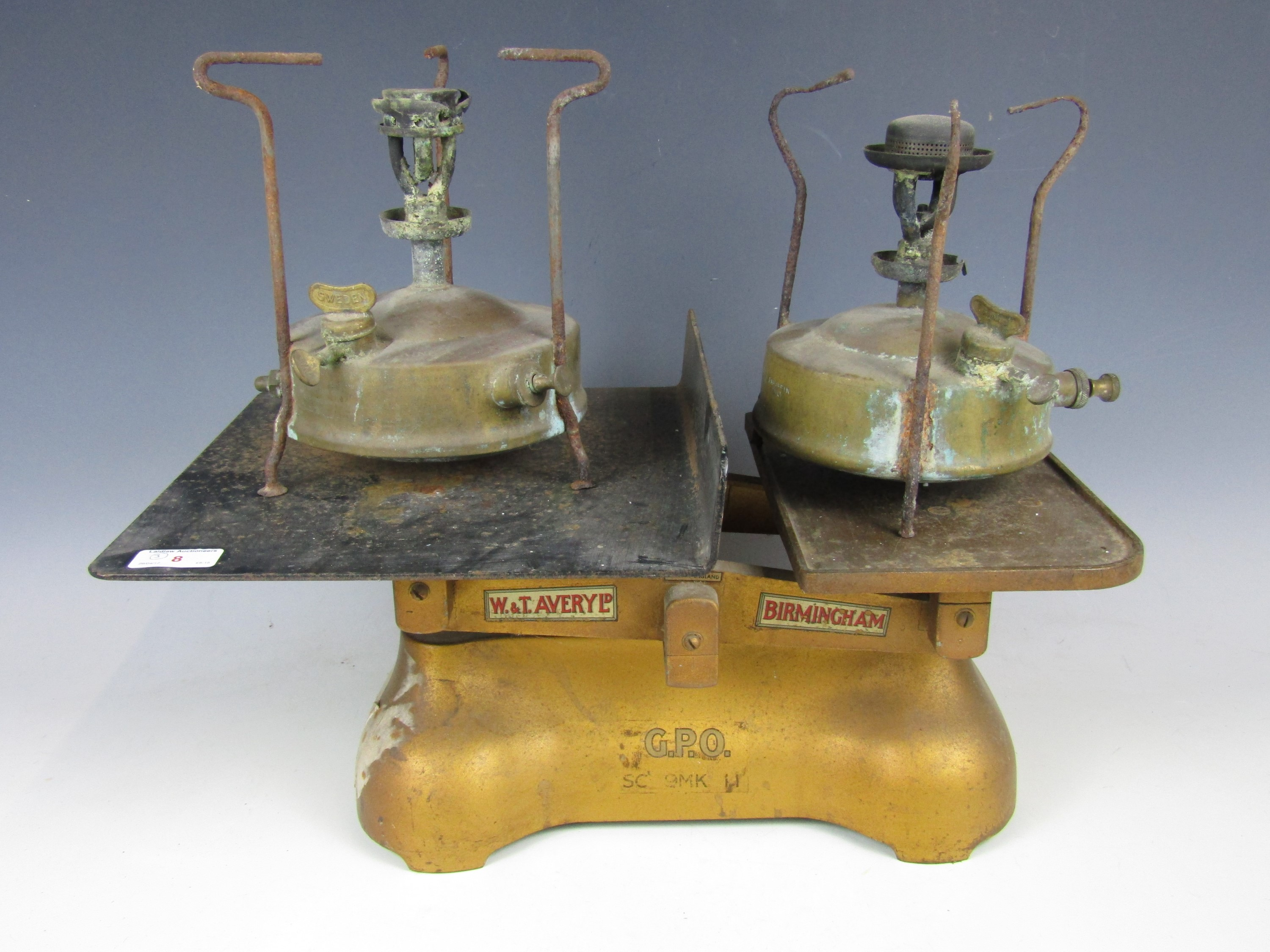 Lot 8 - A vintage set of Avery GPO scales together with two stoves