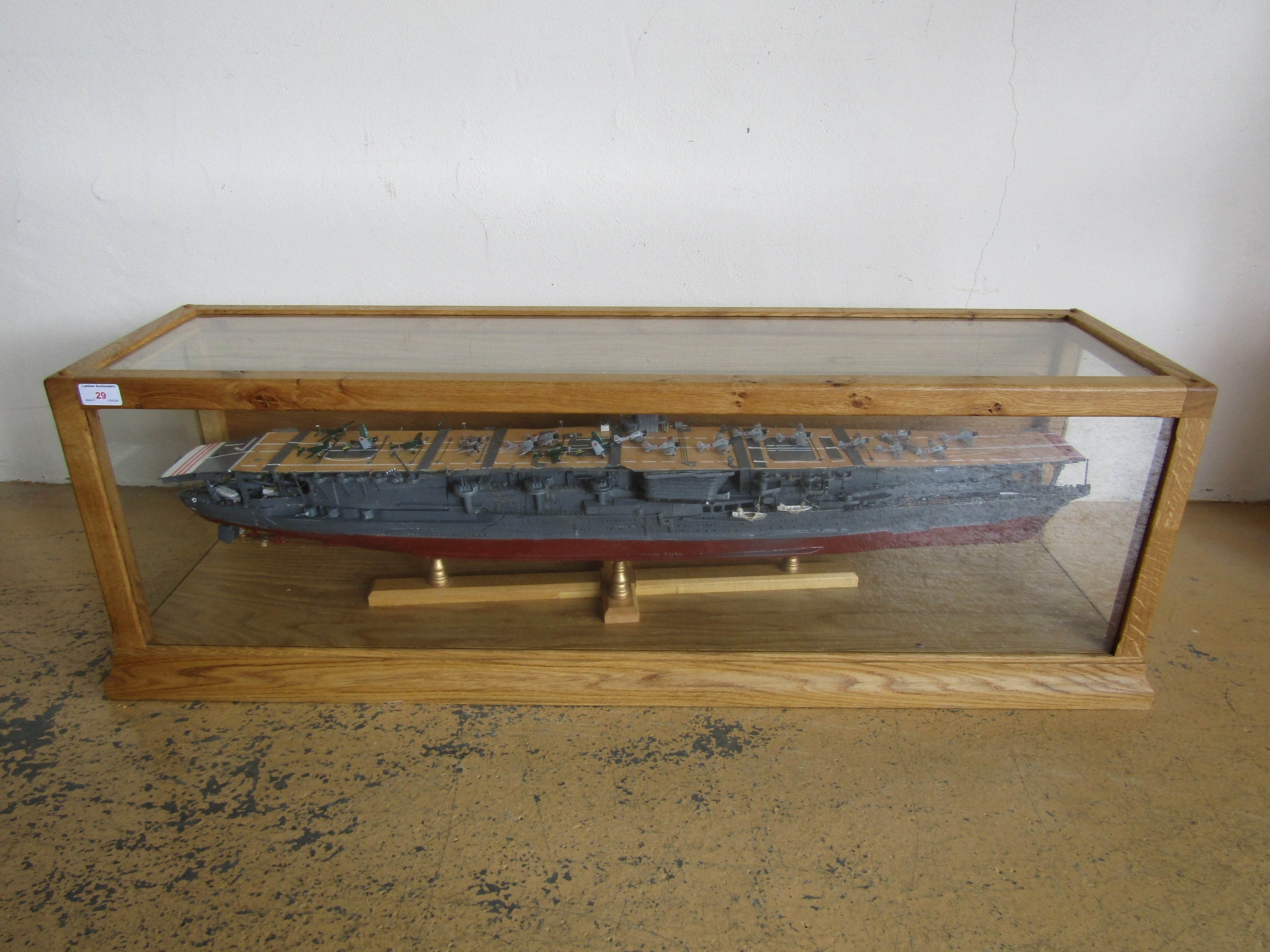 Lot 29 - A large hand-built wooden scale model of an Imperial Japanese Navy aircraft carrier, in high quality
