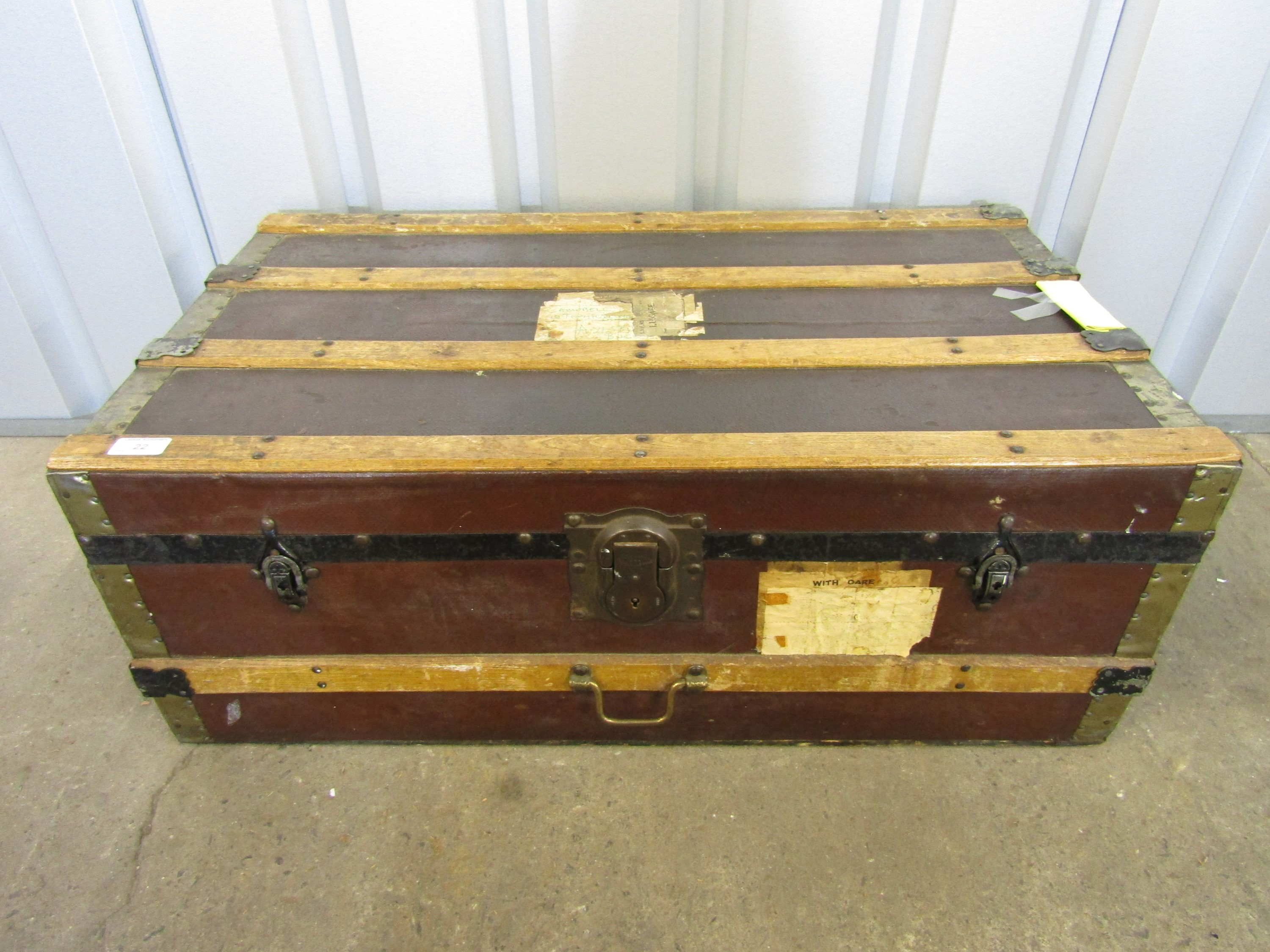 Lot 22 - A vintage cabin trunk with LNER luggage labels