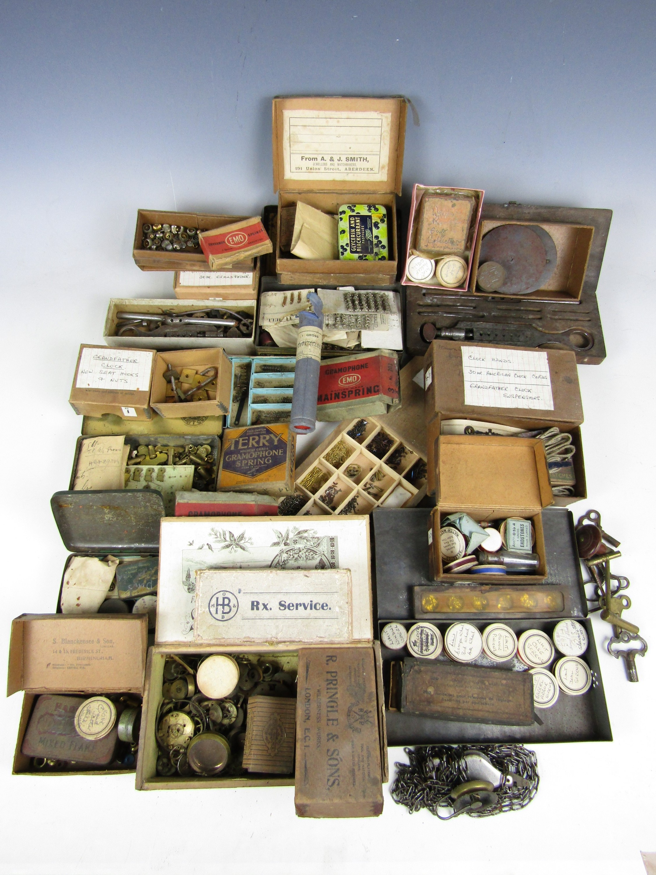Lot 3 - A large quantity of watchmakers' parts etc.
