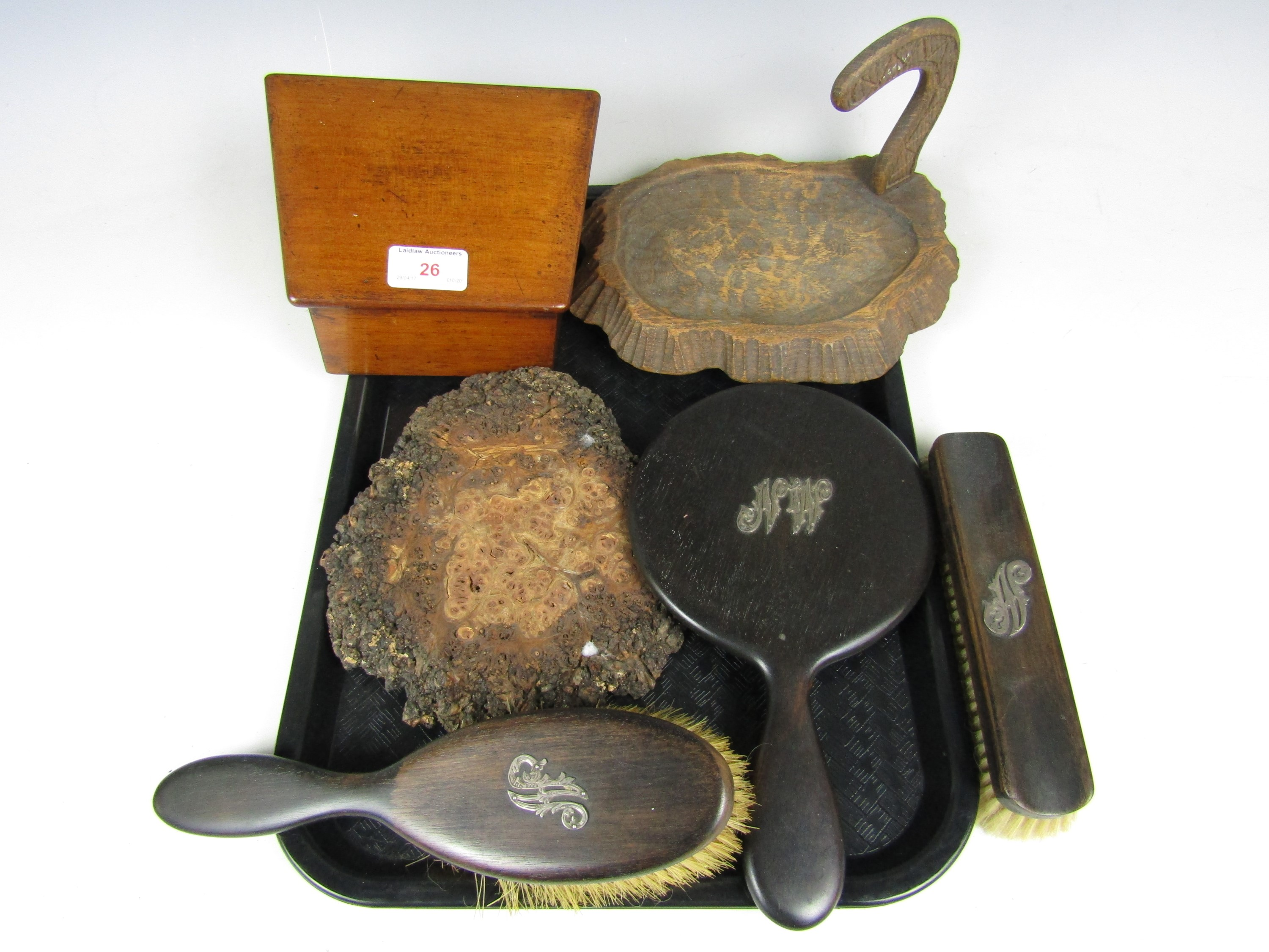 Lot 26 - A wooden stationary box together with a hand mirror and brush set etc.