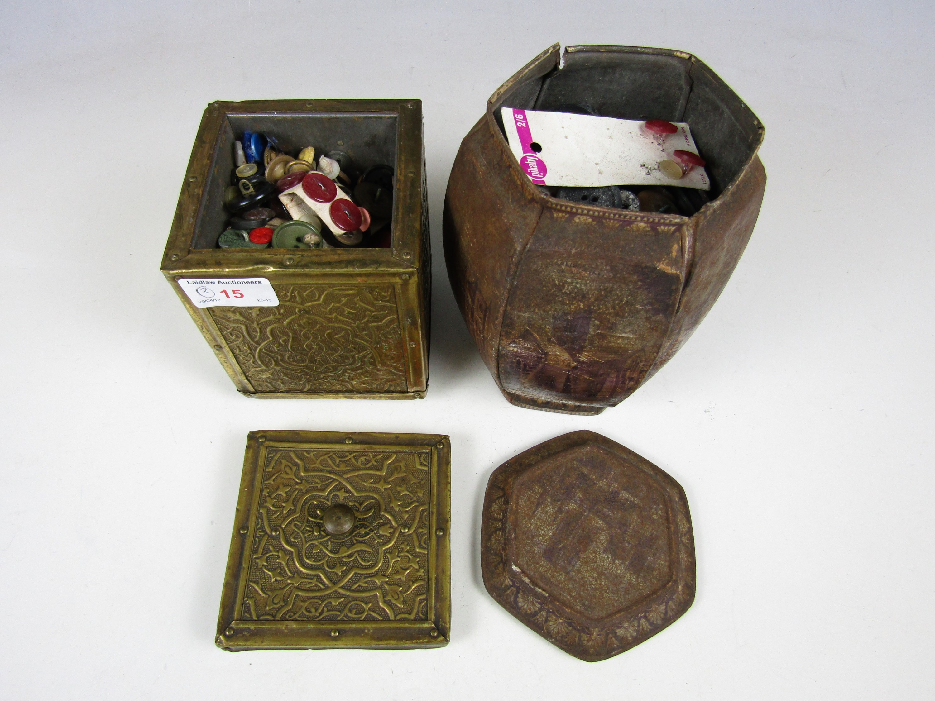 Lot 15 - Two early 20th Century tea caddies containing sundry vintage buttons