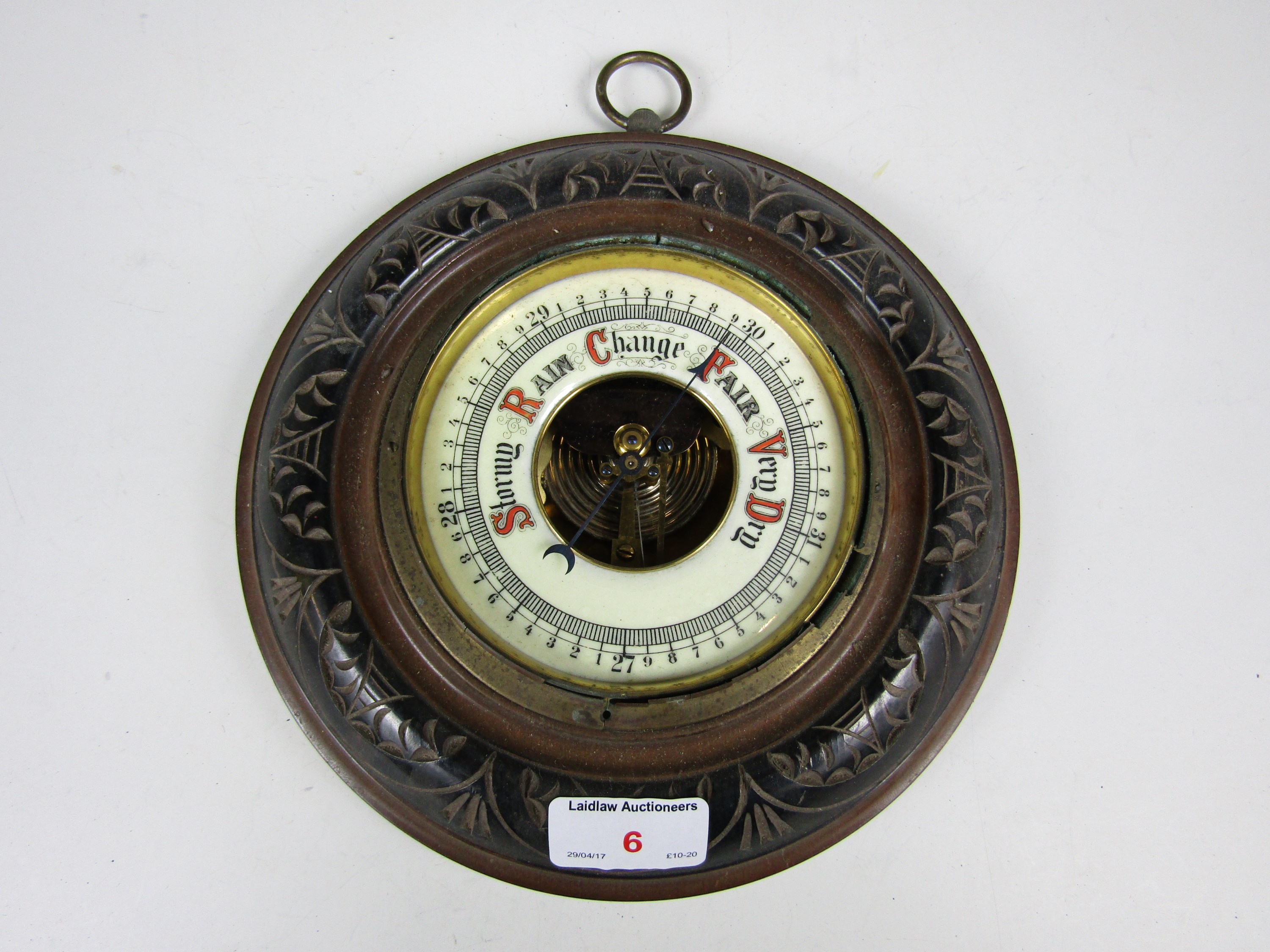 Lot 6 - A late 19th Century carved oak barometer (a/f)