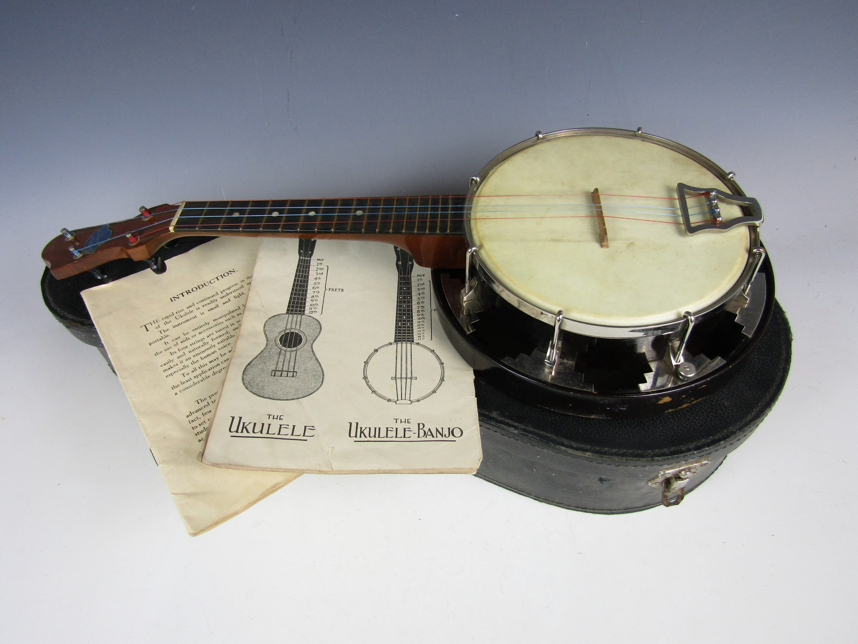 Lot 2 - A vintage John Grey & Sons of London ukulele banjo with case