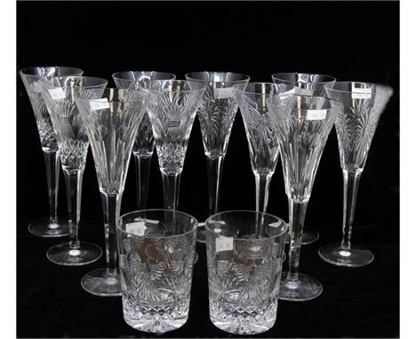10 large Waterford crystal champagne flutes, with two Waterford crystal tumblers, no chips or cracks
