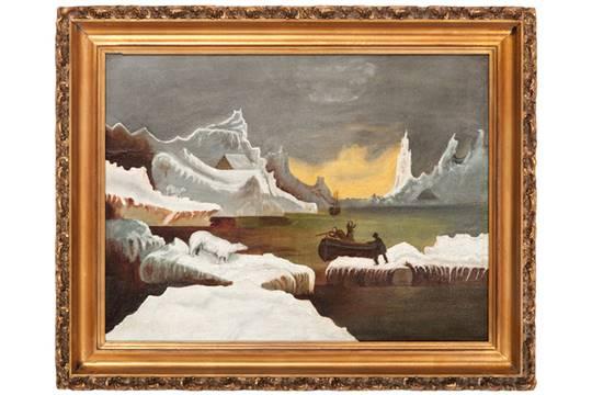 American School Painting of a Polar Bear Hunt American, late 19th ...