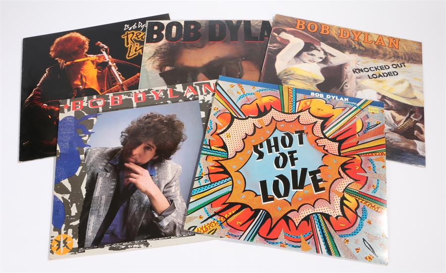 Lot 28 - 5 x Bob Dylan LPs. Shot Of Love, CBS 85718 with inner sleeve. Real Live, CBS 26334 with inner
