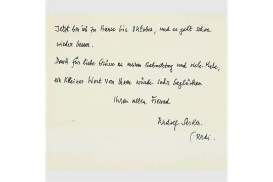 Serkin Rudolf Pianist Handschriftlicher Brief Mit Unterschrift