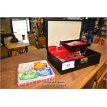 *BLACK JEWELLERY CASE TOGETHER WITH FOUR COLOURED GLASS ASHTRAYS