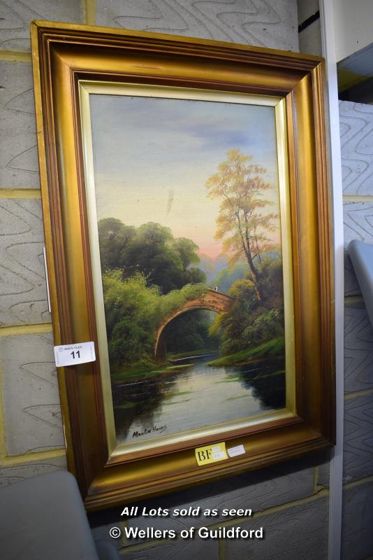 Lot 11 - *FRAMED OIL ON BOARD DEPICTING MAN ON BRIDGE, SIGNED MARTIN HARRIS AND ONE OTHER FRAMED PICTURE