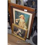 *TWO FRAMED PICTURES AND TWO GLAZED WINDOW FRAMES
