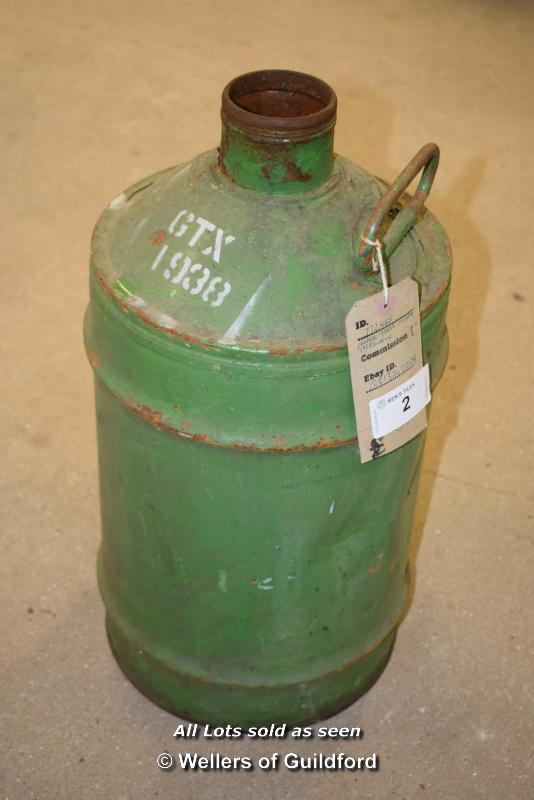 Lot 2 - *GREEN VINTAGE GALVANISED STEEL CONTAINER, 570MM HIGH