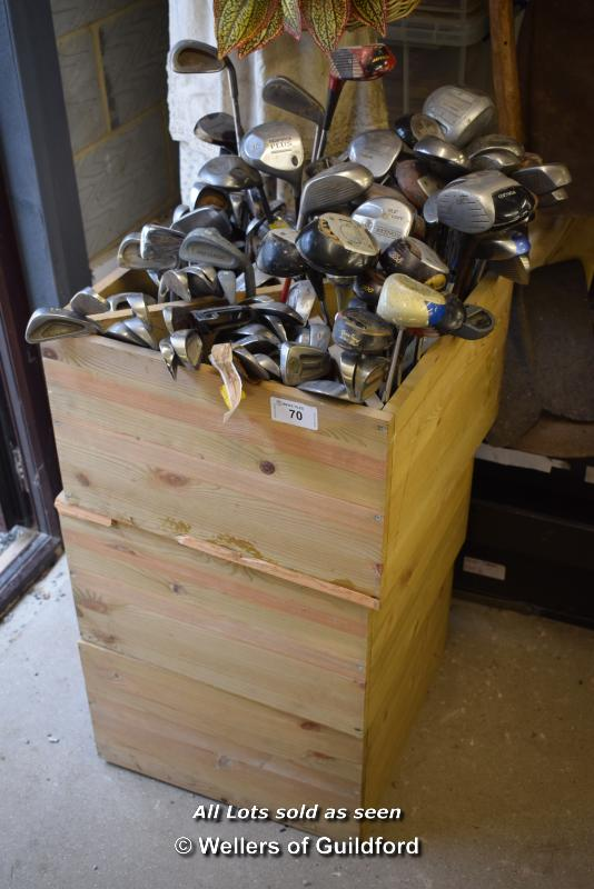 Lot 70 - *CRATE CONTAINING A VERY LARGE QUANTITY OF GOLF CLUBS