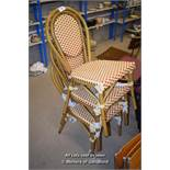 *THREE MODERN METAL AND PLASTIC WICKER CHAIRS