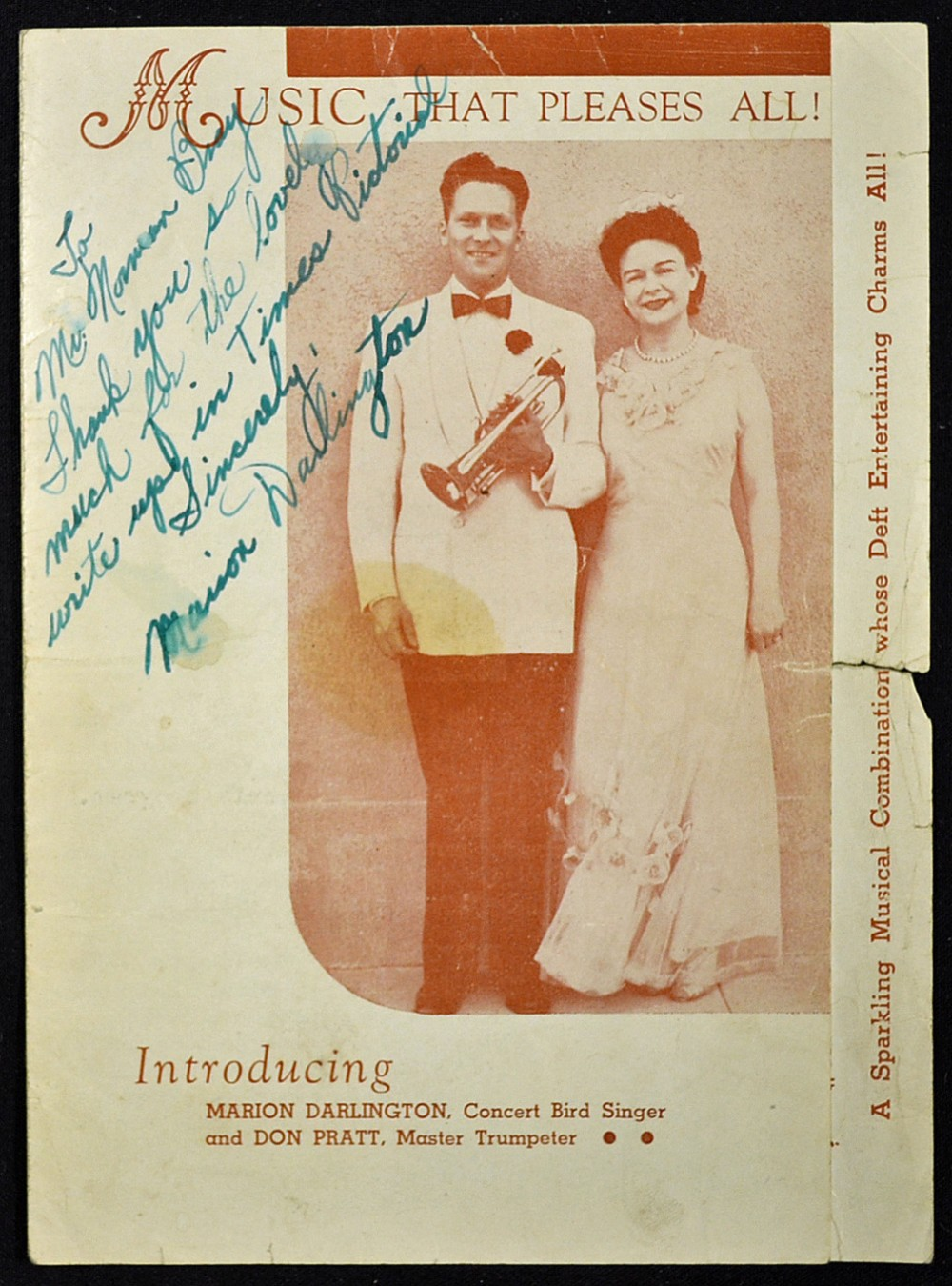 Lot 203A - Autograph Marion Darlington 1910-1991 Signed Music Programme signed in ink to the front cover, an