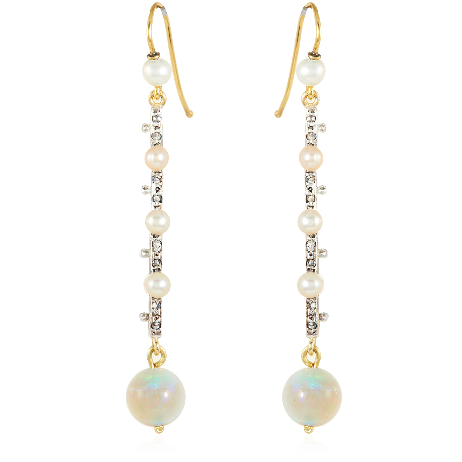 Los 36 - A PAIR OF ANTIQUE OPAL, PEARL AND DIAMOND EARRINGS in yellow gold and silver, each suspending a