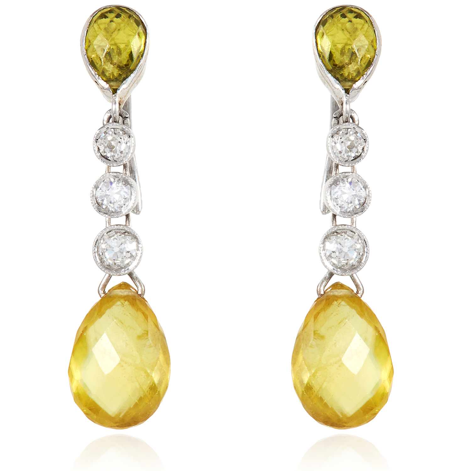 Los 15 - A PAIR OF PERIDOT AND DIAMOND DROP EARRINGS in white gold or platinum, each set with a briolette cut