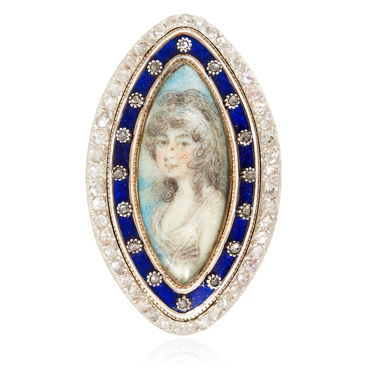 Los 50 - AN ANTIQUE DIAMOND, ENAMEL AND PAINTED MINIATURE MOURNING RING, EARLY 19TH CENTURY in high carat