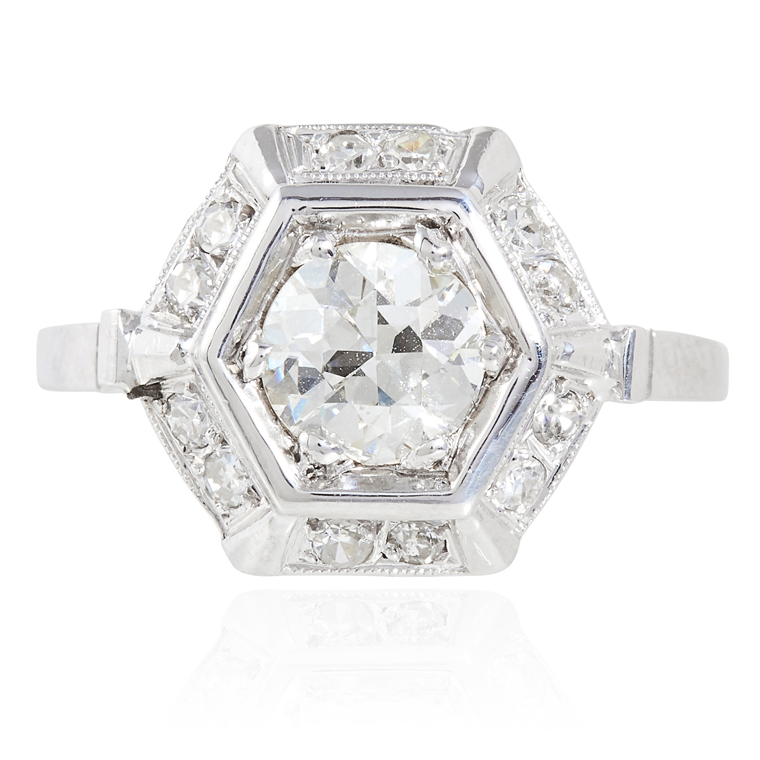 Los 27 - A 0.82 CARAT DIAMOND DRESS RING in white gold or platinum, set with a central round cut diamond of