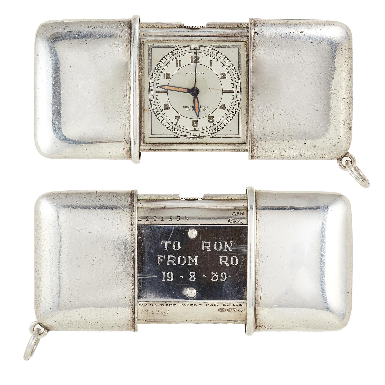Los 113 - A SELF-WINDING WATCH, MOVADO, CIRCA 1940 in sterling silver, 4.5cm, 67.06g.