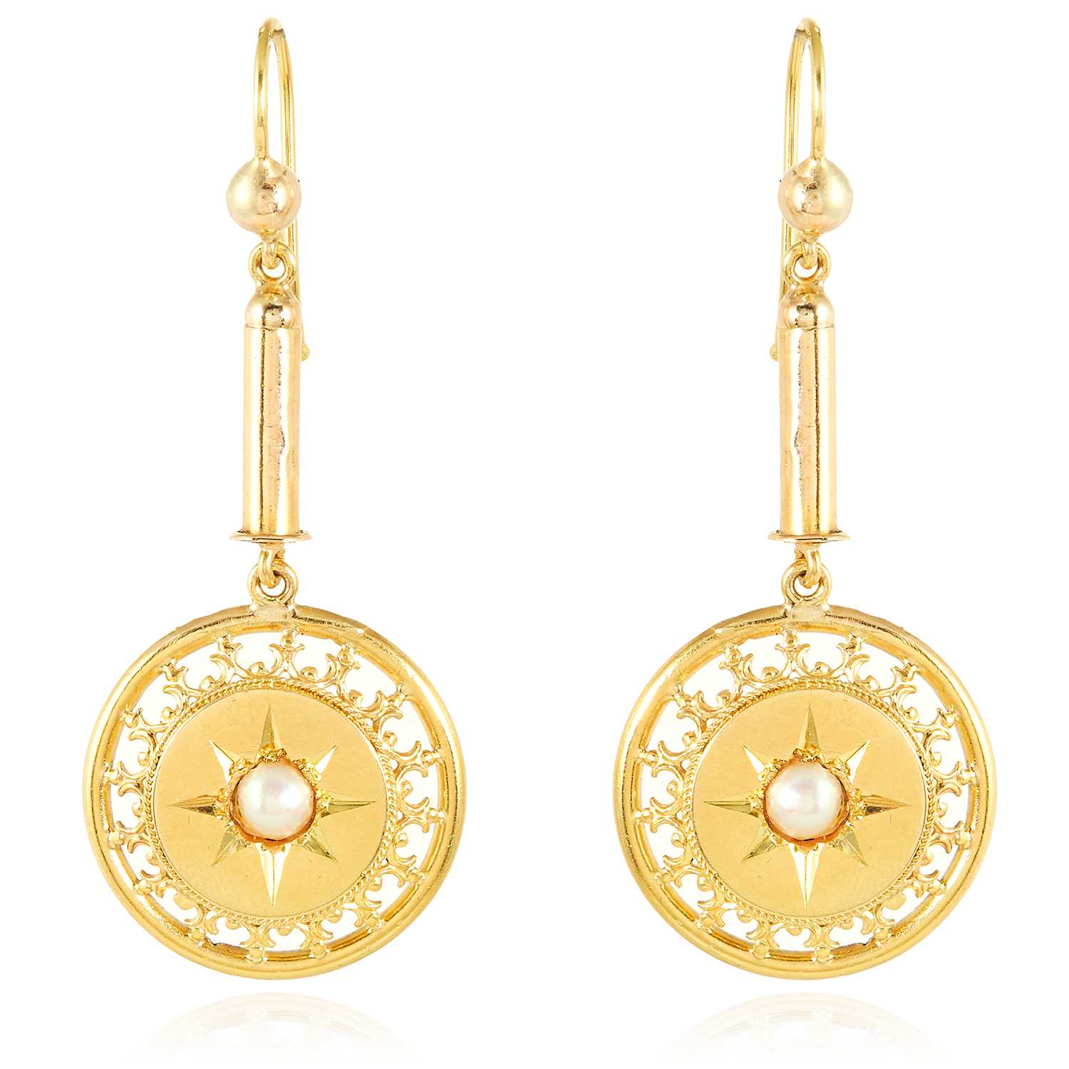 A PAIR OF ANTIQUE PEARL DROP EARRINGS, 19TH CENTURY in high carat yellow gold, each suspending a