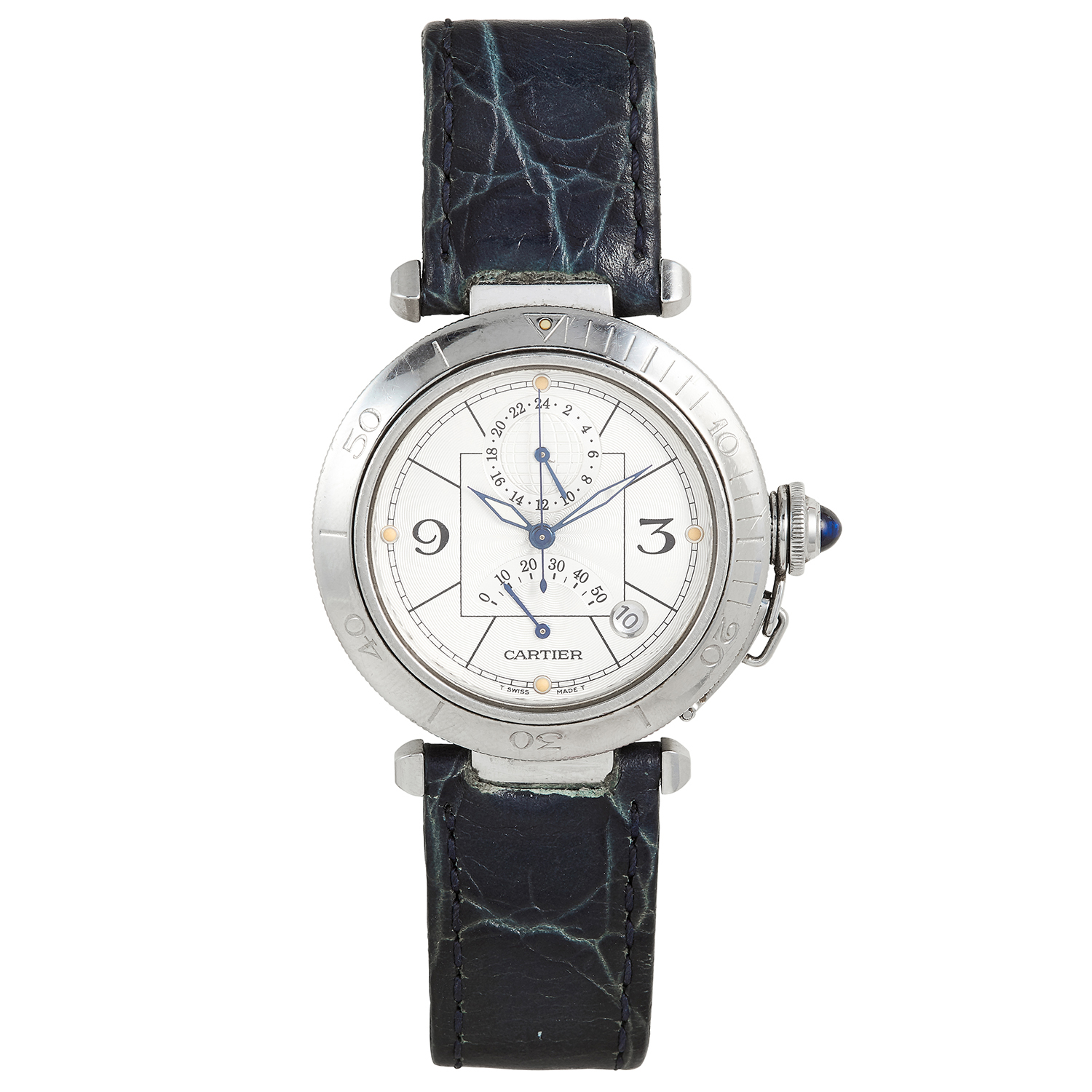 Los 104 - A 'PASHA DE CARTIER' MENS WATCH, CARTIER in steel, with white dial, on blue leather strap, signed