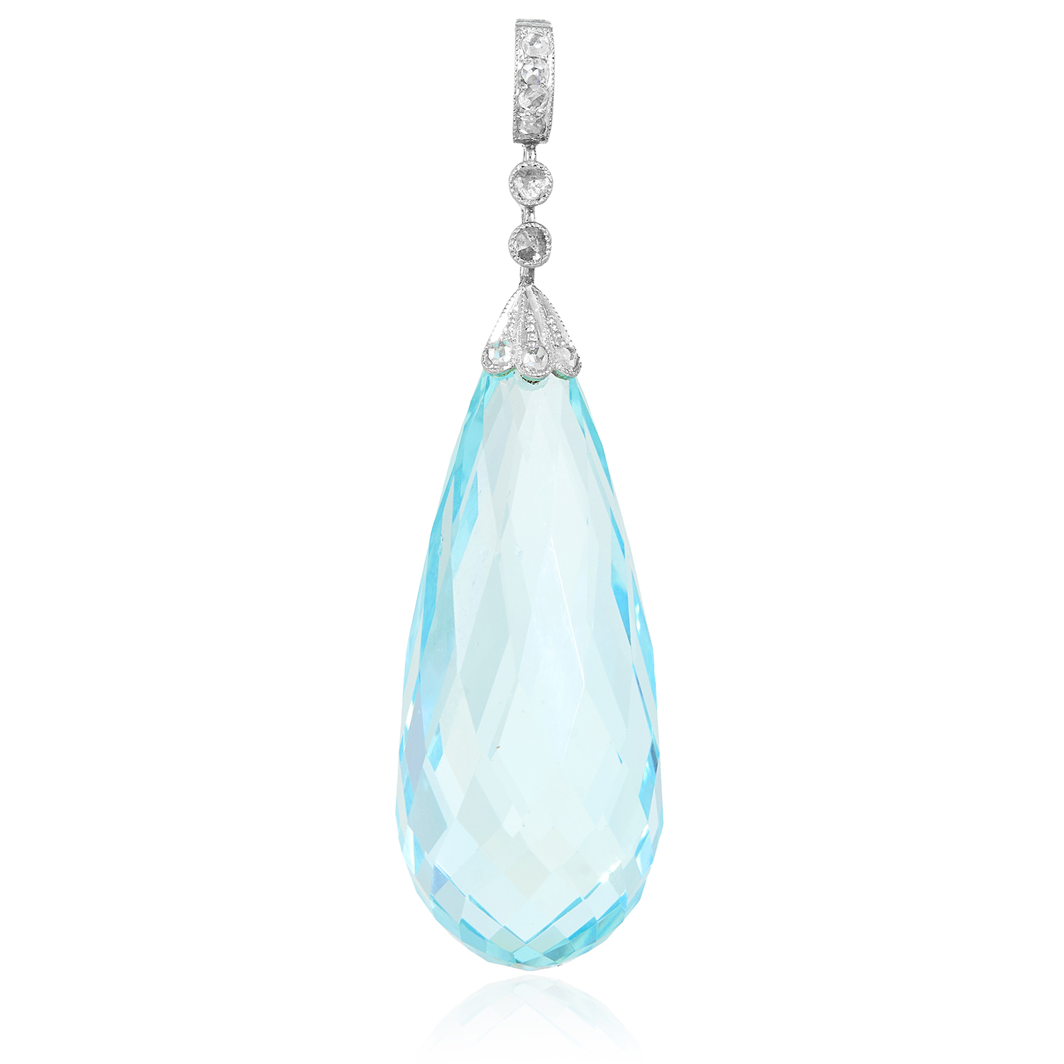 AN ANTIQUE AQUAMARINE AND DIAMOND PENDANT in yellow gold and silver, set with a tapering briolette