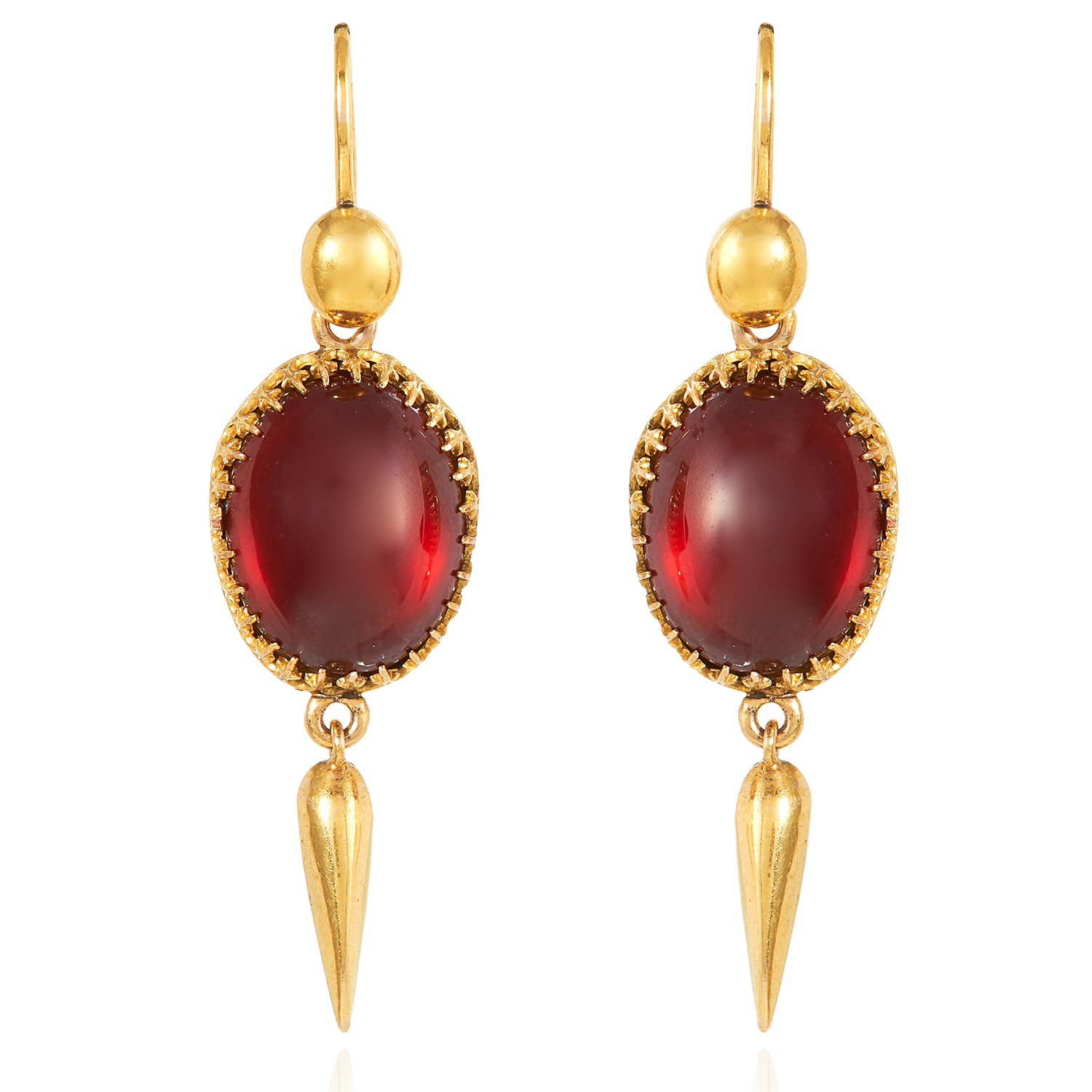 Los 2 - A PAIR OF GARNET DROP EARRINGS, 19TH CENTURY in high carat yellow gold, Etruscan revival, set with