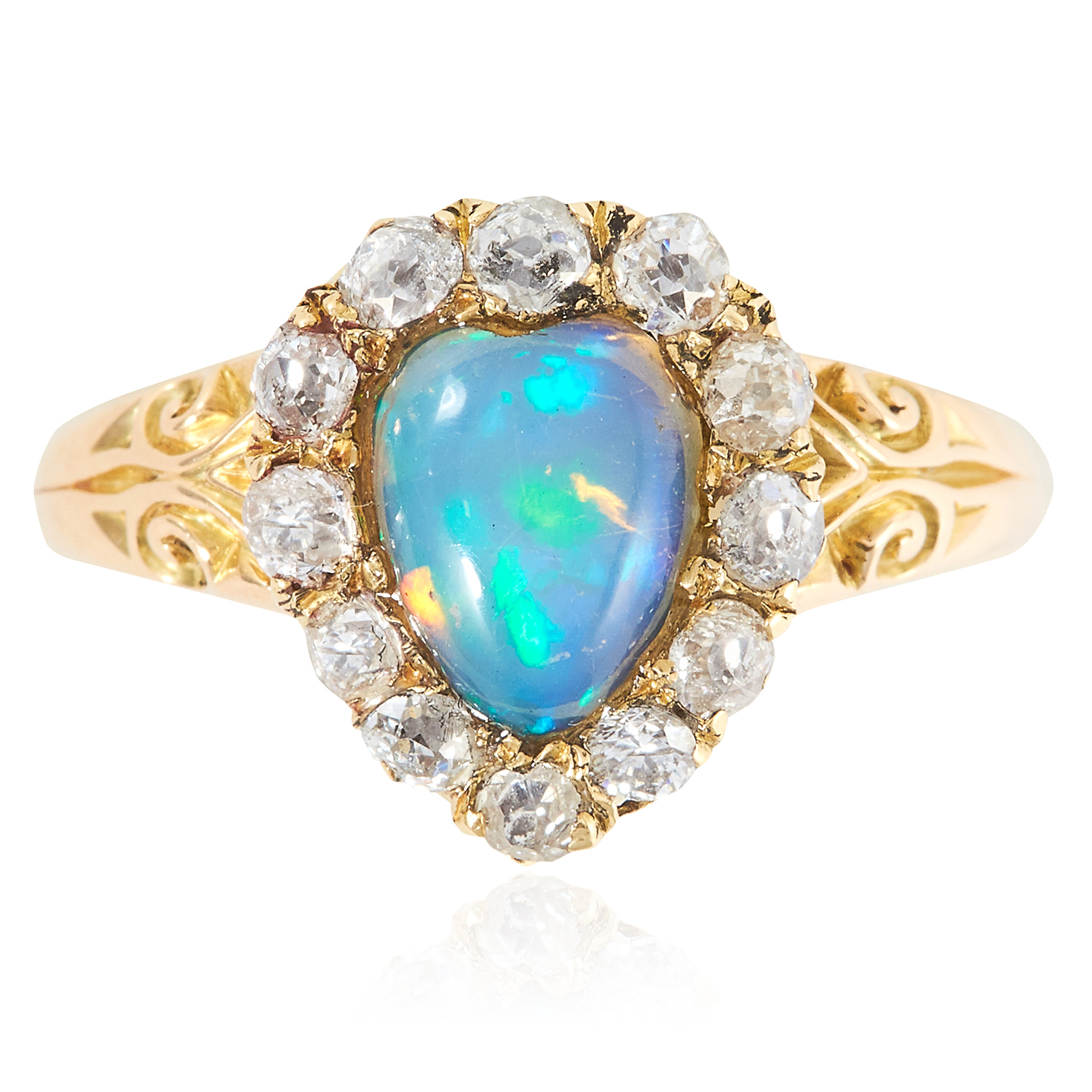 Los 60 - AN ANTIQUE OPAL AND DIAMOND CLUSTER RING, 19TH CENTURY in high carat yellow gold, the heart shaped