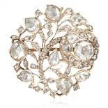 AN ANTIQUE DIAMOND BROOCH, 19TH CENTURY possibly Colonial, of circular form with foliate and