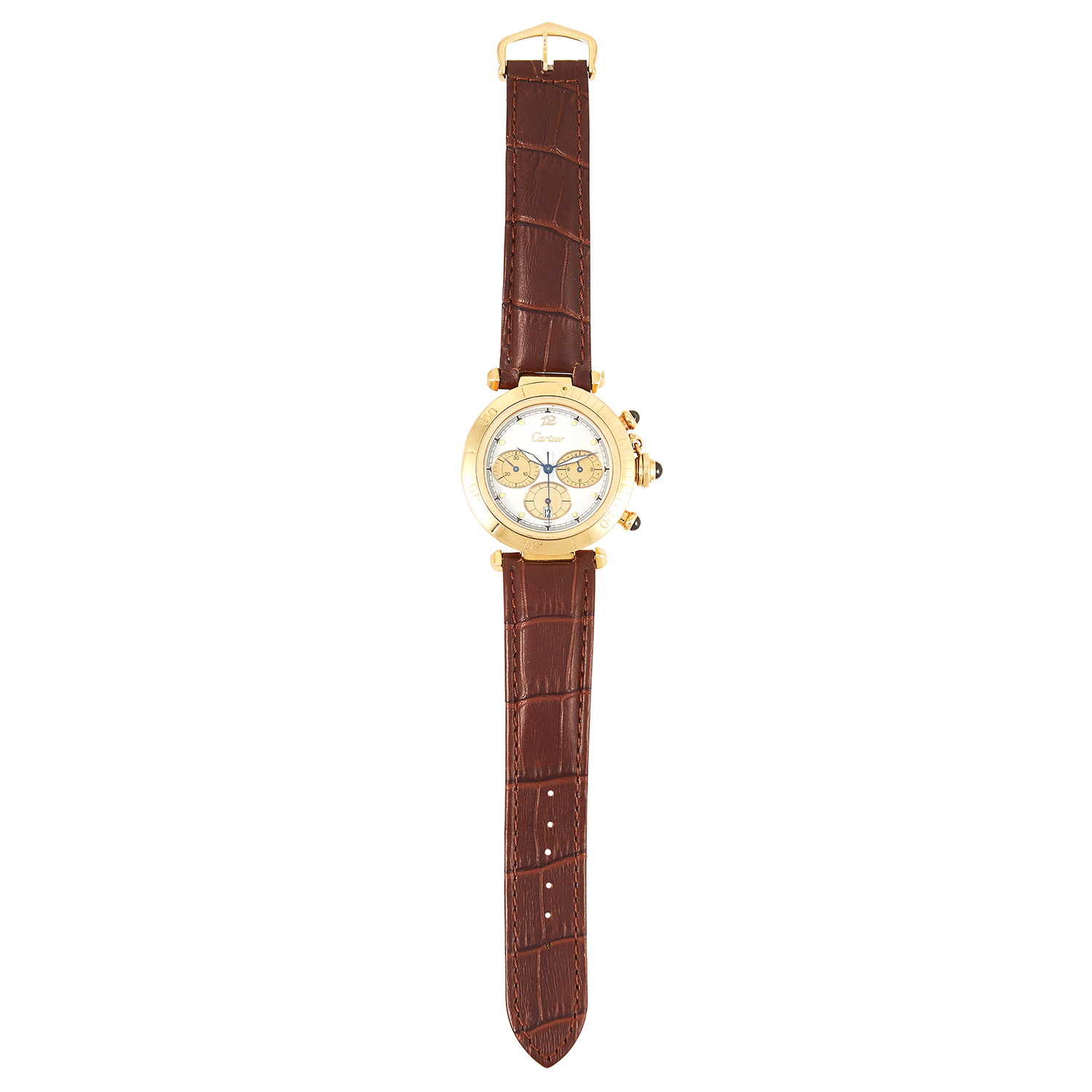 Los 105 - A 'PASHA DE CARTIER' MENS WATCH, CARTIER in 18ct yellow gold, with white dial in yellow gold
