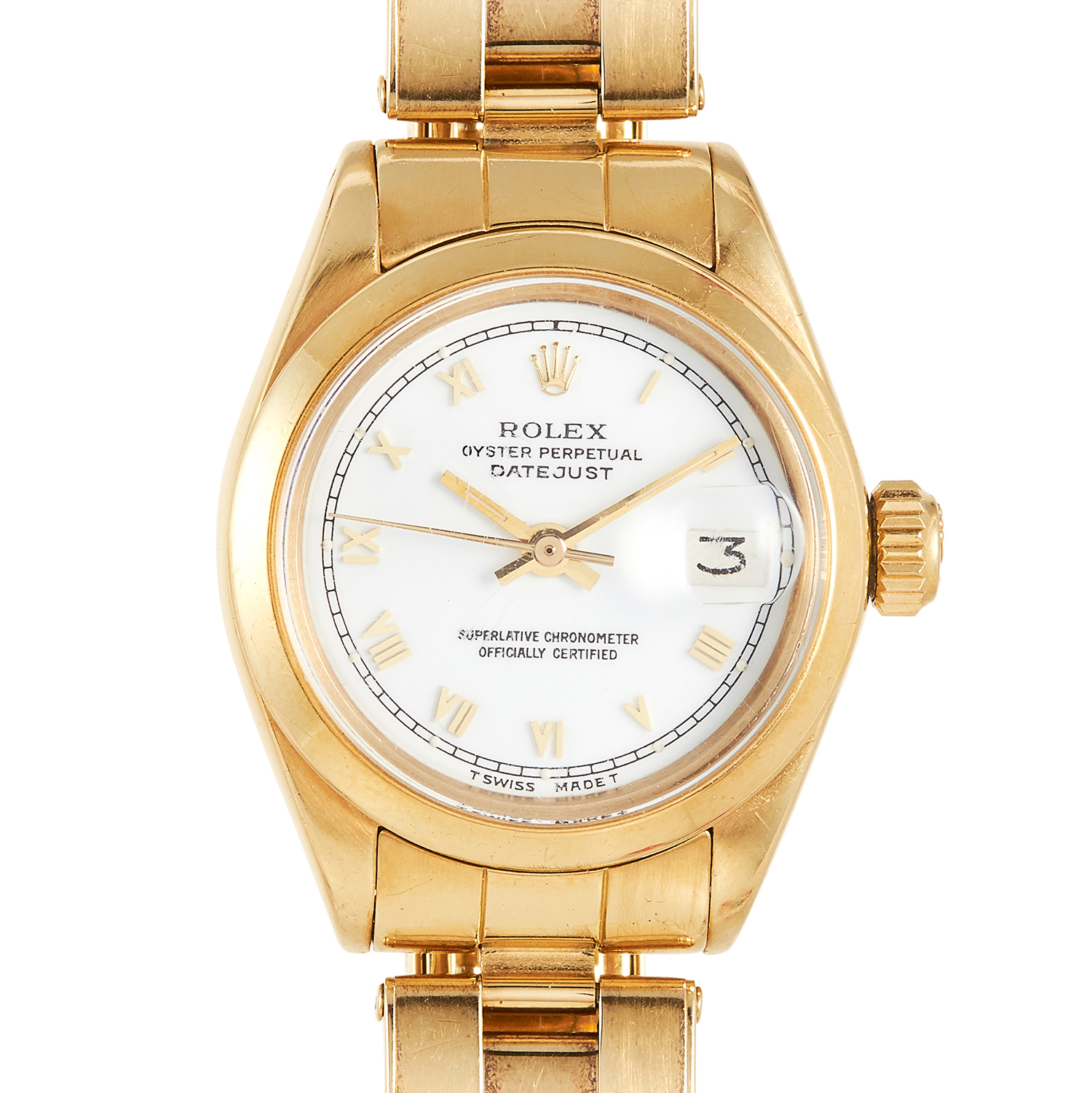 Los 107 - A LADIES 'DATEJUST OYSTER PERPECTUAL' WRISTWATCH in 18ct yellow gold, with white dial, signed Rolex,