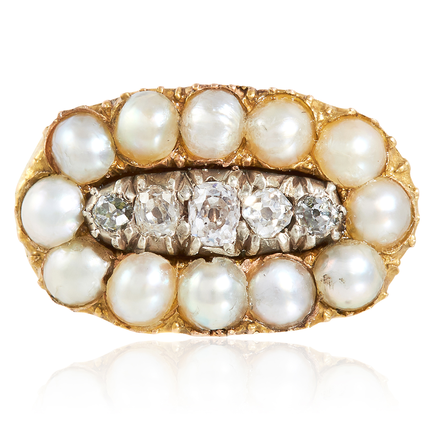 Los 49 - A PEARL AND DIAMOND DRESS RING in high carat yellow gold, set with a row of old cut diamonds in a