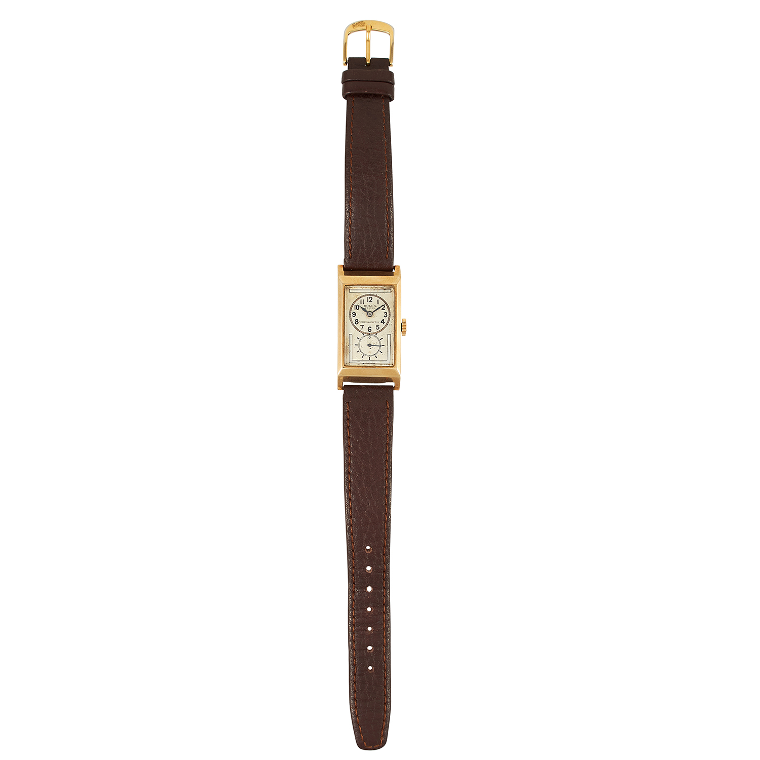 Los 106 - AN ANTIQUE ROLEX WRISTWATCH with white dial and gold border, on brown leather strap, signed Rolex,
