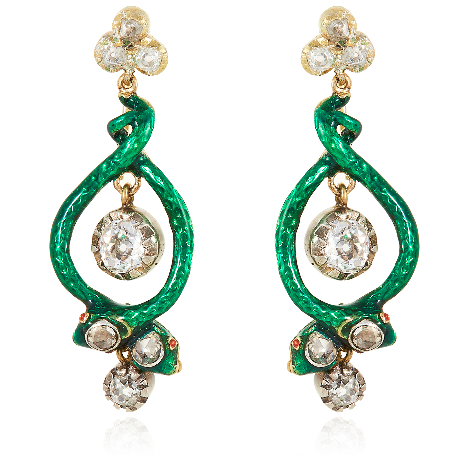 A PAIR OF ANTIQUE DIAMOND AND ENAMEL SNAKE EARRINGS in high carat yellow gold and silver, each