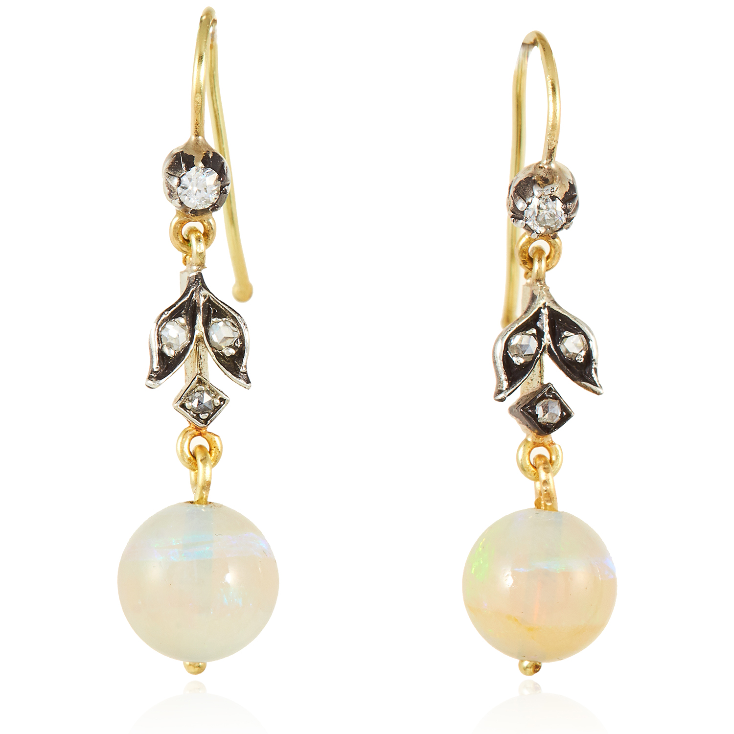Los 23 - A PAIR OF ANTIQUE OPAL AND DIAMOND EARRINGS in yellow gold and silver, each set with a polished opal