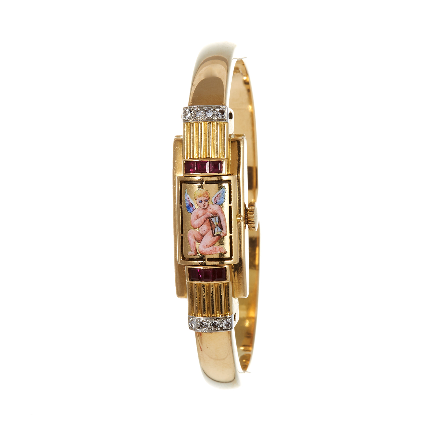 Los 112 - A RUBY, DIAMOND AND ENAMEL COCKTAIL WATCH, CIRCA 1957 in 18ct yellow gold the dial with a hinged,