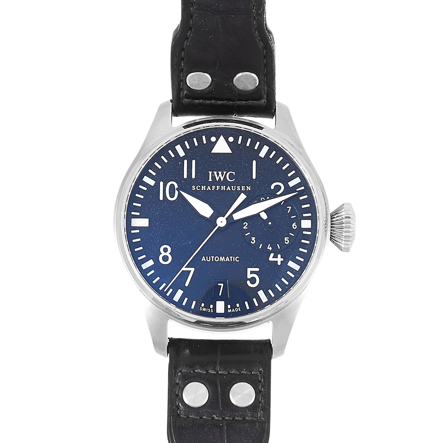 Los 110 - A IWC 'PILOT' MENS WRISTWATCH in steel, with black dial, with black leather strap, 144.28g.