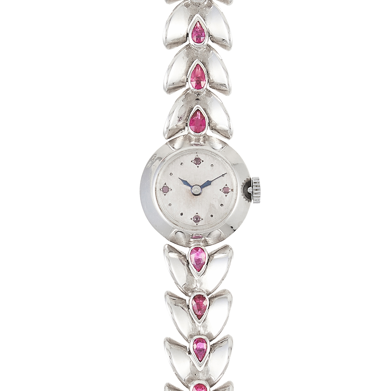 Los 343 - A RUBY LADIES WRISTWATCH, FRENCH in white gold, the fancy link chain is set with pear cut rubies and