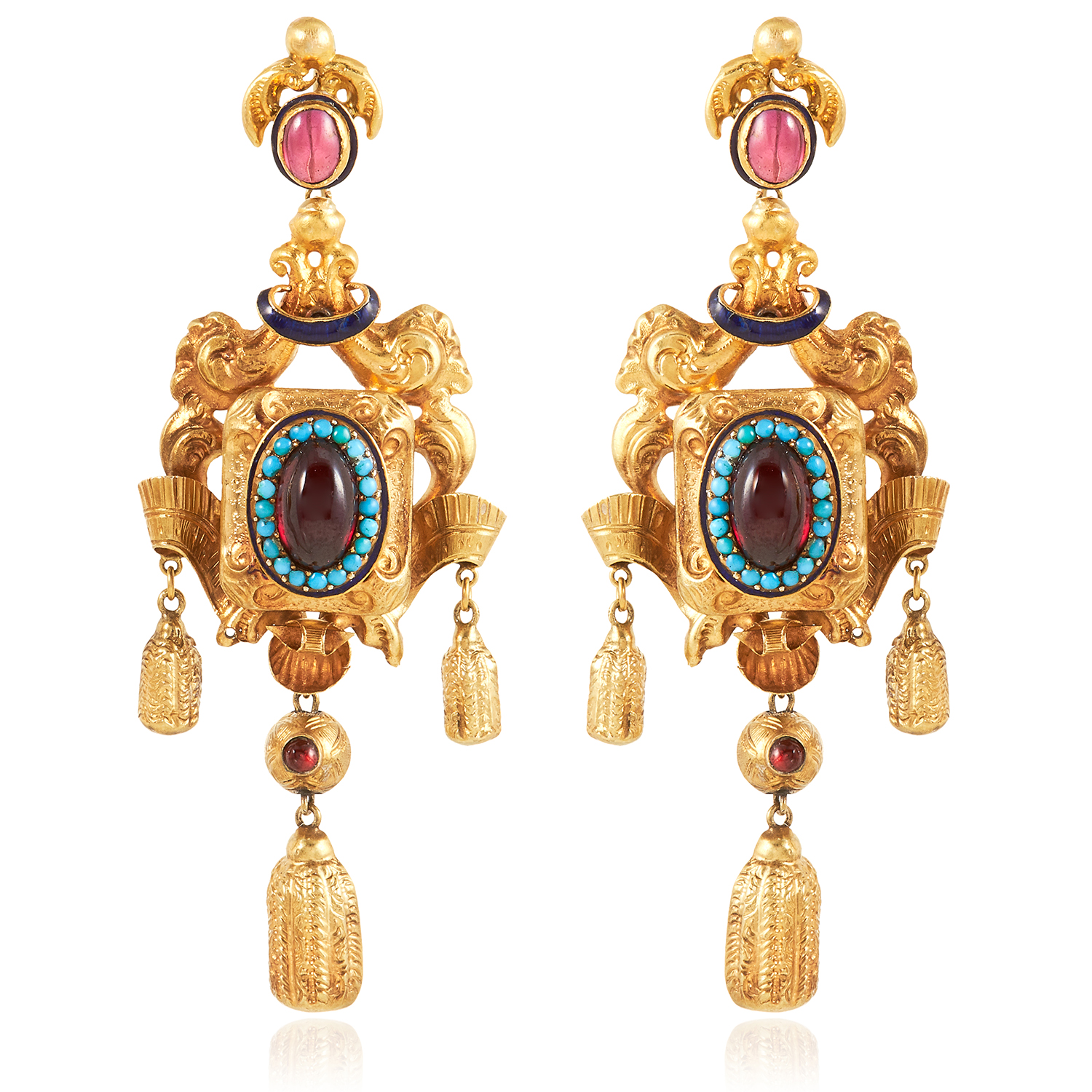 Los 8 - A PAIR OF ANTIQUE GARNET, TURQUOISE AND ENAMEL EARRINGS in high carat yellow gold, each set with